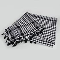 Tactical White & Black Shemagh Arab Desert Keffiyeh Cotton Scarf