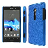 MPERO Collection Blue Sparkling Glitter Slim-Fit Glam Case / Cover / Shell for Sony Xperia Ion S28I