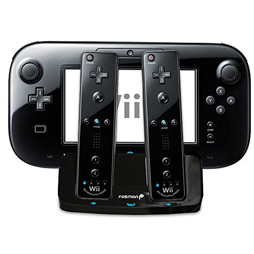 Fosmon Wii U Gamepad And Remotes 2 In 1 Stand Charger With 2 Battery Packs - Retail Packaging (Black)