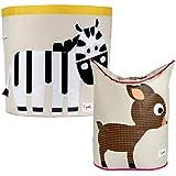 3 Sprouts Storage Bin and Laundry Hamper, Zebra/Deer