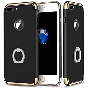 Joyroom Chrome 3 Piece Hybrid Protective Back Case Cover [With Inbuilt Finger Ring] for Apple iPhone 7 Plus [5.5'] - Black