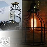 Industrial Vintage Style Curved Metal Wire Cage Pendant Ceiling Lamp Light Fixture Set with 15' Toggle Switch Black Plug-in Cord and Edison Style Bulb