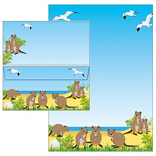 niedliche Quokkas 50-teilig 25 Blatt Briefpapier + 25 Stück Briefumschläge DIN lang ohne Fenster 51095+61095