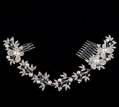 Crystal Diamond Bride Bridal Wedding Hair Head Band Wear Pearl Rhinestone Jewelry Headdress Headband Tiara Coronal Eyebrow Fall Forehead Chain