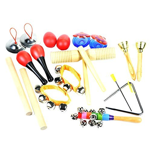 ilovebaby-10-PCS-Instruments-Set-with-Maracas-Rhythm-sticks-Nylon-Wrist-Bell-Wood-Sounder-Triangle-with-striker-Cymbals-Castanets-Bells-Maracas-Eggs-and-Rattle-with-a-Red-Zipper-Carrying-Case