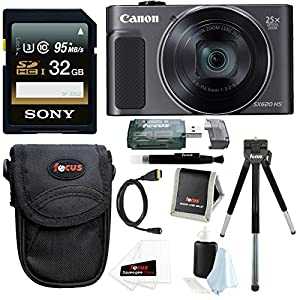 Canon PowerShot SX620 HS Digital Camera (Black) with 32GB Deluxe Bundle