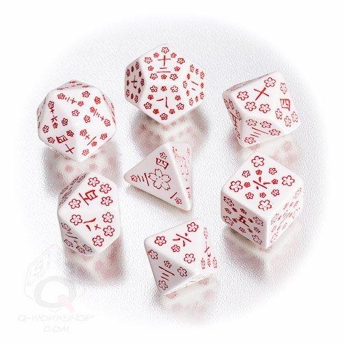 Q-Workshop Polyhedral 7-Die Set: White & Red Japanese Dice Set