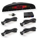 WIKOOL 高性能バックセンサー パーキングセンサー 12V車用 アラーム モニター付き 4個センサー(22MM) 1年間保証 ブラック