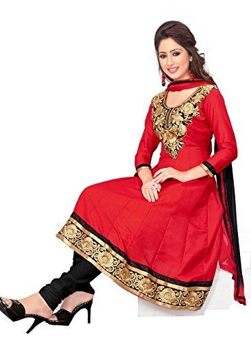 Khushali Fashion Women Cotton Salwar Suit Dress Material (Jls05 _Red _Free Size)
