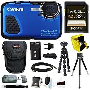Canon PowerShot D30 Waterproof Digital Camera (Blue) + 32GB SD HC Memory Card + Accessory Kit