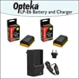 2 Pack of Opteka Canon Replacement LP-E6 LPE6 2400mAh (4800mAh Total) Ultra High Capacity Li-ion Battery Pack & Rapid Charger for Canon EOS 5D Mark 2 3 II III 5DM2 5DM3 6D 7D 60D 60Da 70D DSLR Digital Camera