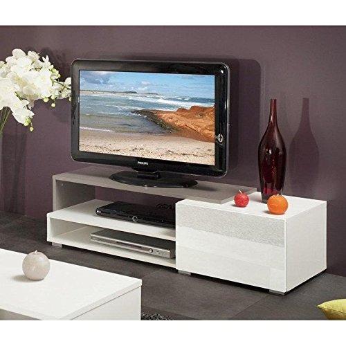 Pacific–Mueble TV color blanco y topo lacado brillant. pequeño modelo