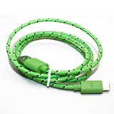 Dual Color Fabric Braided 8 Pin Lightning to USB Data Sync Charger Cable Cord for iPhone 5 5G iPod Touch 5th 3M 10FT (Green)