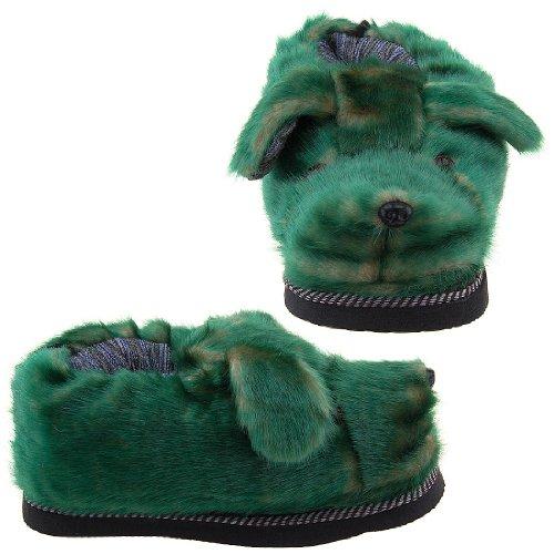 Cheap Green Fuzzy Dog Slippers for Women (B0096UBJVE)