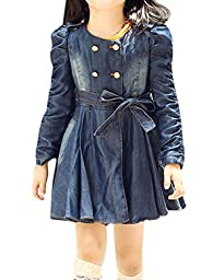 Girls Long Puff Sleeve Double-Breasted Denim Trench Coat Navy Blue 7