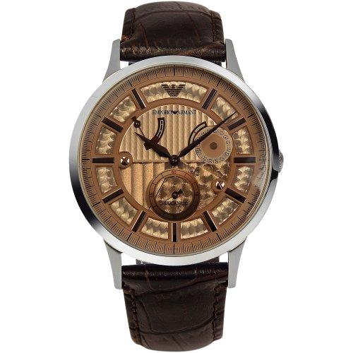 Emporio Armani AR4665 - Reloj de pulsera hombre, piel, color marrón