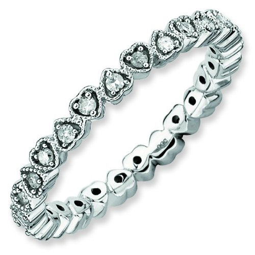 Size 9 - Diamond Heart 2.25mm Eternity Band Sterling Silver Stackable Ring