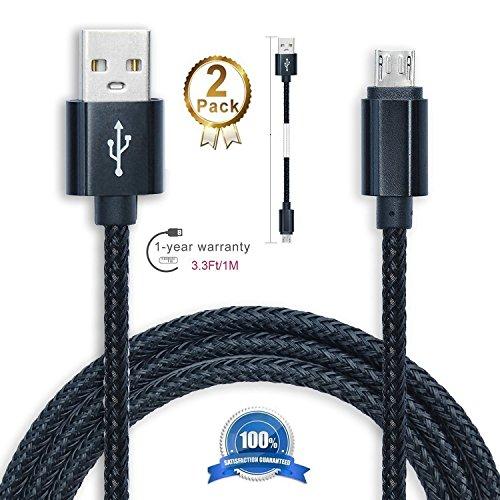 kinnor Android 1metro Cavo di ricarica, [2] [] tessuto di nylon intrecciato cavo USB a Micro USB di sincronizzazione dati ad alta velocità