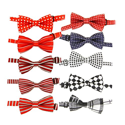 Lillypet® Baby Boys Girls Dog Bow Ties Pet Cat Bow ties Collar for Wedding Party Grooming Accessories Color Assorted Pack of 10pcs