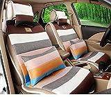 (ファーストクラス)FirstClass フォーシーズン カーシートカバー フロント リアシートカバー カラフルなクッション レインボースタイル 全席セット 車シート保護 リネン製 通気性に富む 快適 滑り止めシート 5シート車汎用 10枚 ベージュ