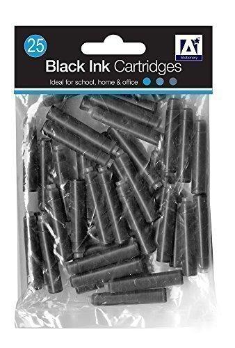 Cartouche d'encre noir recharge de stylo plume standard école bureau maison (lot de 25)