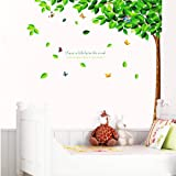 PVC 3D Creative Green Tall Tree with Falling Leaf living Room TV backdrop Wall Stickers baby kid's decal Paper House Sofa Room