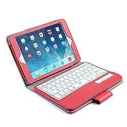 Bestek Bluetooth Keyboard Case with Auto Sleep Wake for Apple iPad Mini 3rd Gen / iPad Mini 2 with Retina Display / iPad Mini (Red)