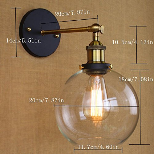 BAYCHEER HL416426 Vintage Industrial Edison Style Finish Round Glass Ball Shape Wall Lamp Vintage Lighting Fixture Lights Wall Sconce 2