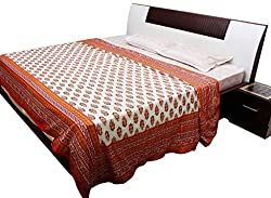AADI ENTERPRISES New Sanganeri Printed Style Traditional Royal Golden Print Double Bed Cotton Dohar Comforter