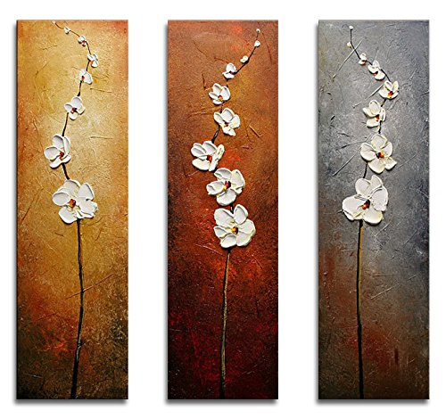 Wieco Art Dancing Petals Abstract Oil Paintings Modern Canvas Wall Art for Wall Decor 10x30inchx3pcs