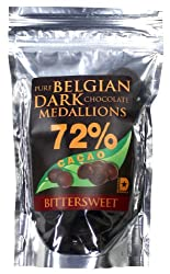 Real Pure Belgian Dark Chocolate Medallions 72% Pure Cacao. 4 Oz.
