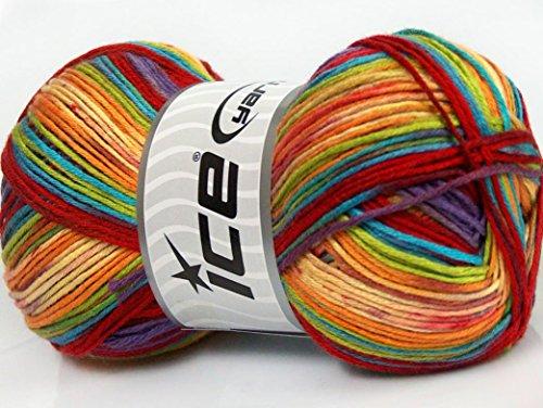 lot-of-4-x-100gr-skeins-ice-yarns-antibacterial-magic-yellow-turquoise-red-purple-orange