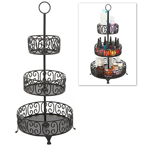 3 Tier Black Metal Scrollwork Design Round Nail Polish Rack / Display Stand / Cosmetics Makeup Organizer (Nail Polish Jewelry compare prices)