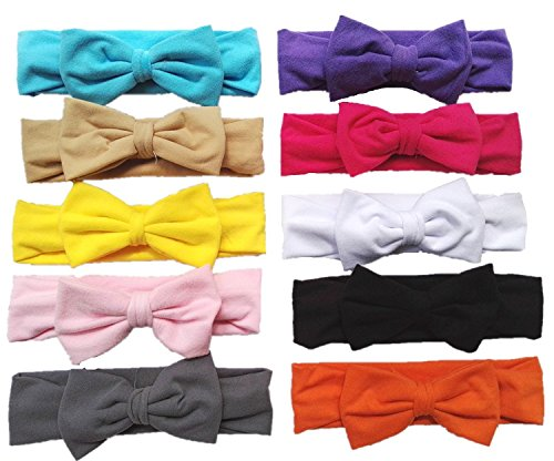 "Qandsweet Baby Girl's Headbands and Hair Bow (10pack 4.7*2.4"" Bows)"