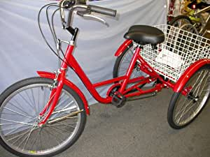 "Tricycle Adult 24"" 6 Speed RED"