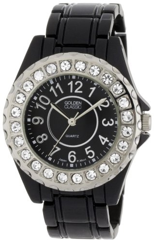 "Golden Classic Women's 2284_black ""Time's Up"" Rhinestone Accented Black Metal Watch"