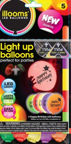 Illooms-Printed-Happy-Birthday-Light-Up-LED-Balloons-5pk-Mixed-Colors-Last-15-Hours
