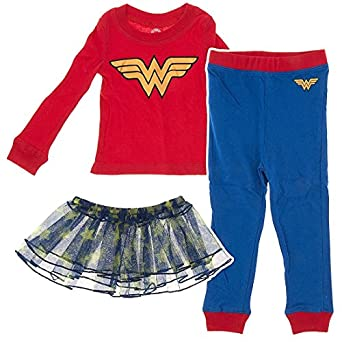 Intimo Little Girls' -12 Wonder Woman 3 Piece Tutu Pajamas