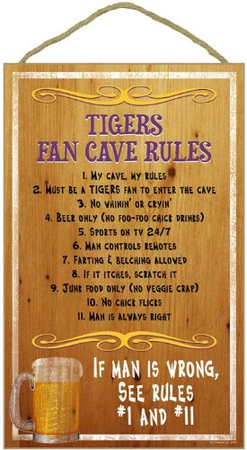 LSU Tigers Fan Cave Rules Wood Sign at Amazon.com