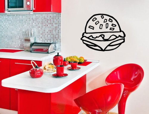 Housewares Vinyl Decal Hamburger Kitchen Design Home Wall Art Decor Removable Stylish Sticker Mural Unique Design For Any Room front-1003087