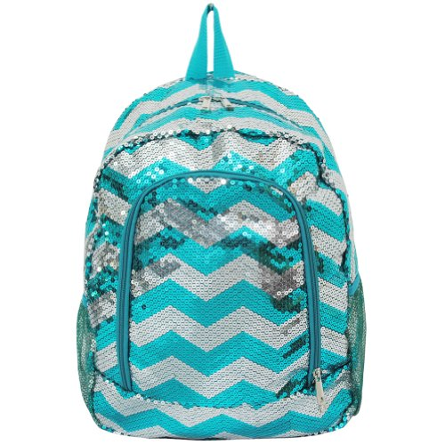 Beautiful Sequin Chevron Print School Backpack (aquablue)