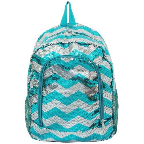 Beautiful Sequin Chevron Print School Backpack (aquablue)