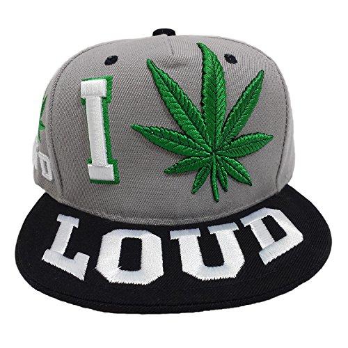 I-Love-Marijuana-Loud-Embroidered-Two-Tone-Snapback-cap-GreyBlack