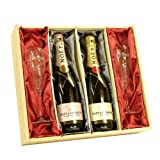 Moet et Chandon 'His & Hers' Champagne Gift Box with Branded Flutes - Luxury Birthday, Wedding, Retirement, Corporate Gifts & Hampers