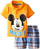 Disney Little Boys' Mickey Boy Polo Woven Plaid Short Set