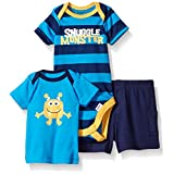 Gerber Baby Three-piece Bodysuit Lap-shoulder Shirt and Short Set, Snuggle Monster/Exclusive, 0-3 Months