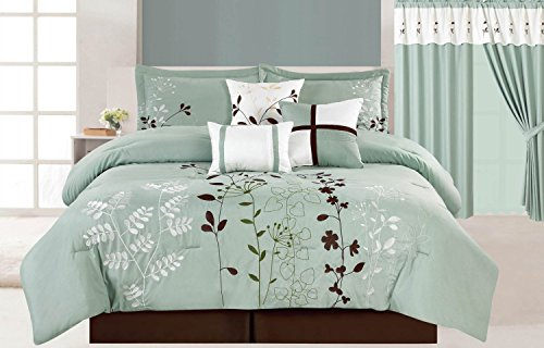 Fancy Collection 7Pc Luxury Blue Brown Floral Comforter Set Bed-In-A-Bag King Size Bedding front-357699