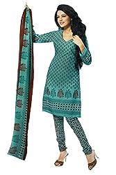 Bikenwear Women's Casual Dress Material Suit (PRE9105_Green_Free Size)