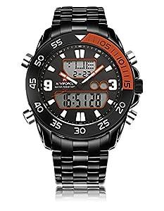 GOHUOS Men's Sport Outdoors Analog Digital Week Date Luminous Stainless Steel Bracelet Wrist Watch Orange