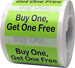 Buy One Get One Free Retail Store Stickers - .75 x 1.5 Rectangle Labels for Clearance and Sale Items - 500 Stickers Per Roll